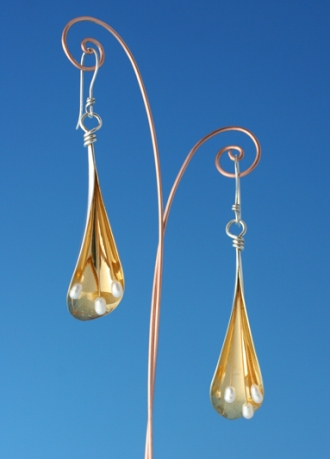 Earrings, part gilded