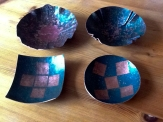 Patinated copper bowls
